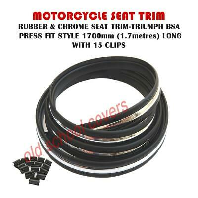 Motorcycle Chrome & Rubber Seat Trim Press Fit Triumph Bsa With Clips • 20.99£