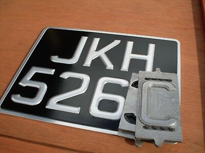 CLASSIC Pressed Motorcycle Number Plate & SILVER FRAME [ 9 X 7 ] *HEAVY DUTY* • 15.95£