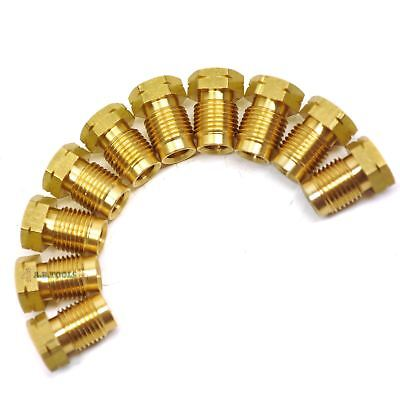 Brass Brake Pipe Fittings M10 X 1mm Short Male 10 PACK For 3/16  Pipe FL13 • 11.25£
