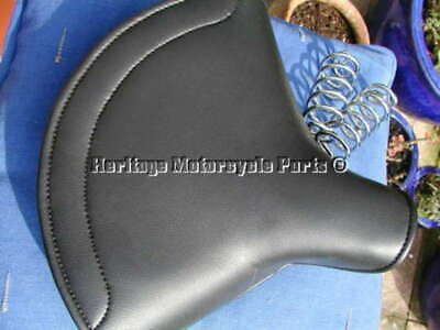 Universal New Large LYCETTE Solo Saddle Seat + Chrome Springs BSA Triumph Ariel • 79.99£