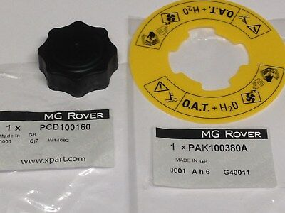 Genuine Mg Rover Mgf Mg Tf Zr Coolant Expansion Tank Cap + Oat Label Pcd100160 • 15.49£