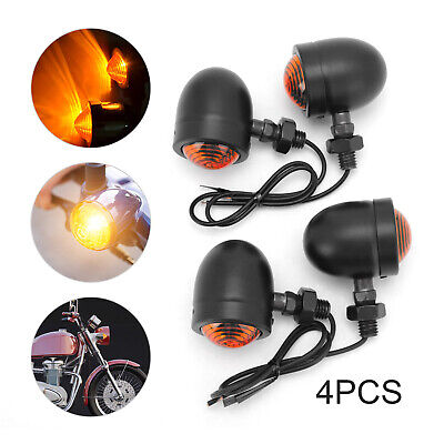 4x Aluminum Motorcycle Indicators Motorbike Turn Signal Lights Bullet Bulb UK • 7.99£