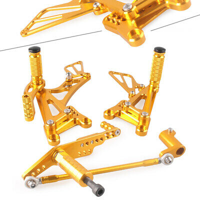 Motor Rearsets Foot Pegs Rear Footrest Adjustable For Yamaha YZF R1 2007-08 Gold • 80.84£