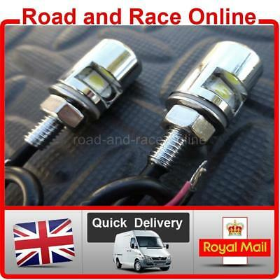 Pair Of Round Chrome Motorcycle Number Plate / License Plate Lights Bolt Stye • 9.99£