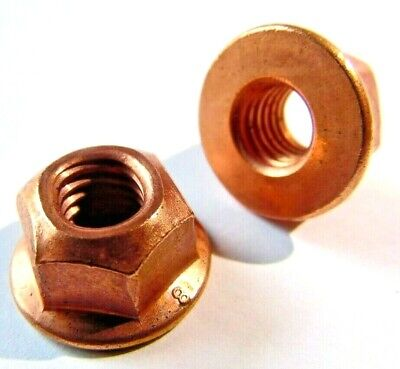 Universal Motorcycle Car Copper Exhaust Nuts M8 X 1.25 Mm With Collar 10 Pack • 8.95£