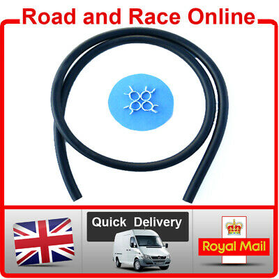 Motorcycle Fuel Line Petrol Pipe 6mm I/D - 10mm O/D 1m Long Black With 4 Clips • 5.45£