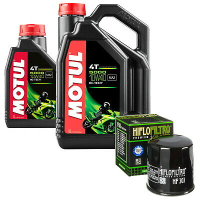 Kawasaki ZX 1400 ZZR1400 ABS 2012 Motul 5000 10w40 4T 5 Litre Oil & Filter Kit • 29.99£