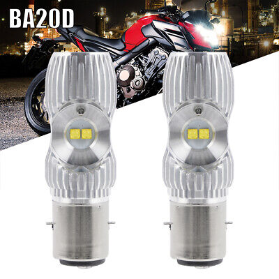 2x BA20D H6 S1 S2 LED Motorcycle Headlight Lamps Hi/Low Beam White Bulbs 6000K • 7.99£