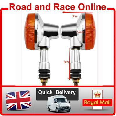 Pair Of Replacement Chrome Motorcycle Indicators Fit Front Or Rear 12v 10w Bulb • 12.99£