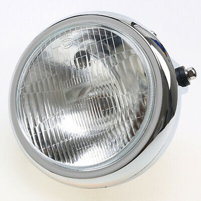 7.6INCH Chrome Headlight Round Motorcycle Mount Head Lamp MX For Honda Suzuki • 25.19£