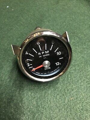 "Triumph BSA Smiths Rev Counter Tachometre 2 1/2"" Black Face Clock NOS • 50£"
