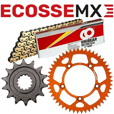 KTM EXC525 XCF525 Gold Heavy Duty Chain And Supersprox Orange Sprocket Kit • 63.99£