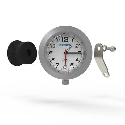 Oxford AnaClock Silver - Silver Case And White Face - Motorcycle Clock OX560 • 24.99£