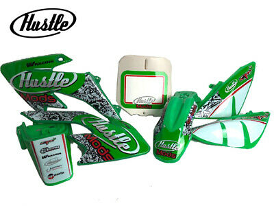 Pitbike CRF50 Hustle Green Graphic And Green Plastics Kit Stickers CW Bikes  • 38.99£