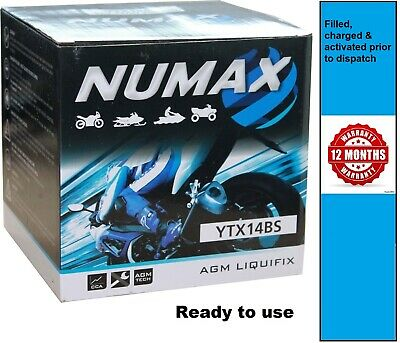 NUMAX NTX14BS,  YTX14-BS Motorcycle / Motorbike Battery - Sealed & Activated • 32.90£