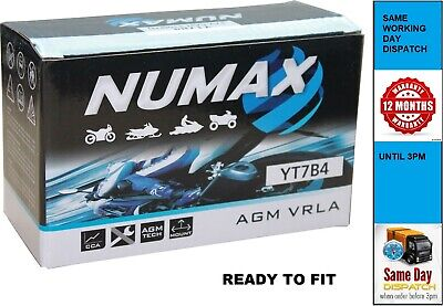 NUMAX YT7B-4 Same As YT7B-BS - AGM Motorcycle Battery - Sealed & Activated • 24.98£