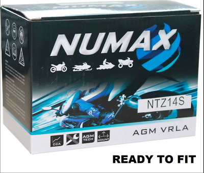 NUMAX NTZ14S - YTZ14S-BS AGM Motorcycle / Motorbike Battery - Sealed & Activated • 32.98£