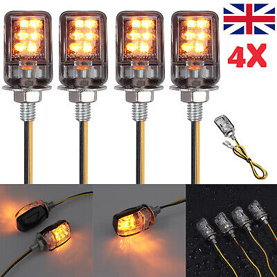 4x LED Amber Micro Mini Tiny Small Indicators Turn Signals Motorcycle MotorBike • 8.88£