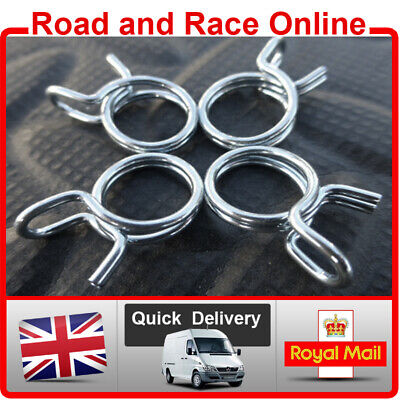 Pack Of 4 Fuel Line Petrol Pipe Fuel Hose Clips / Clamps 10mm Spring Wire Type • 2.45£