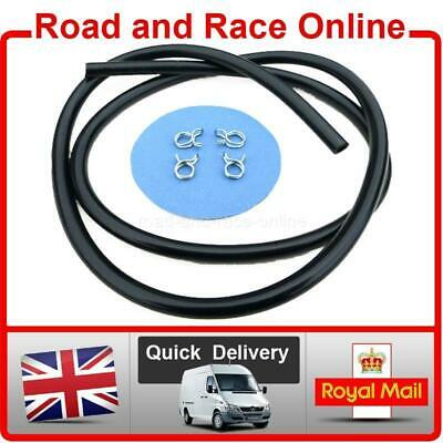 5mm I/D 8mm O/D Black Fuel Hose / Petrol Pipe Plus 4 X Double Wire Pipe Clips 1m • 4.99£