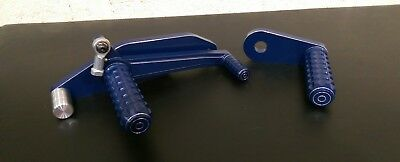 Lambretta Series1 & 2 Rear Sets Foot Pegs & Backplate Blue For Scooter  • 75£