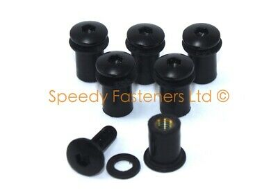 6x M5 Black Motorcycle Windshield Bolts Fairing Bolt Fixings & Rubber Well Nuts • 8.99£