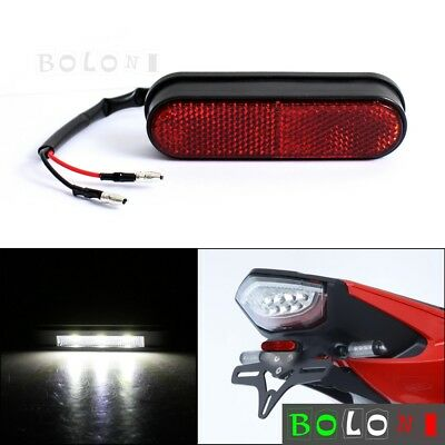 Universal Motorbike 3 LED Rear License Plate Number Plate Light W/ Red Reflector • 7.25£