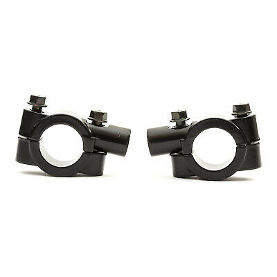 2x Black Motorcycle Handlebar Wing Mirror Mounts Clamps 22mm / 10mm Motorbike • 4.49£