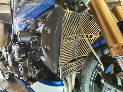 Triumph Speed Triple Radiator Cover + Oil Guard Set Brushed Stainless 2011-2015 • 75£