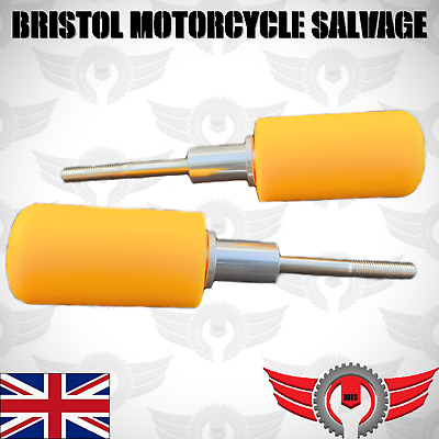 Universal Motorcycle Crash Bobbins Fairing Sliders Supermoto Pit Bike YELLOW • 12.61£