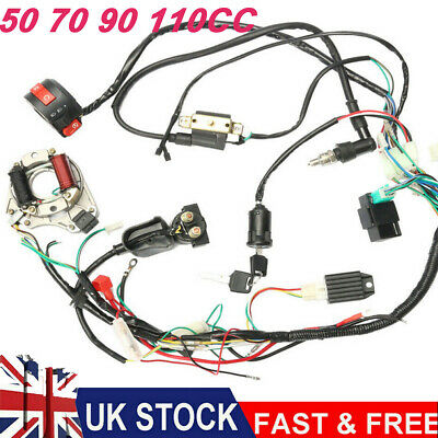 CDI Wire Harness Wiring Loom Coil Rectifier Kit For 50cc-110cc ATV Quad Pit Bike • 19.91£