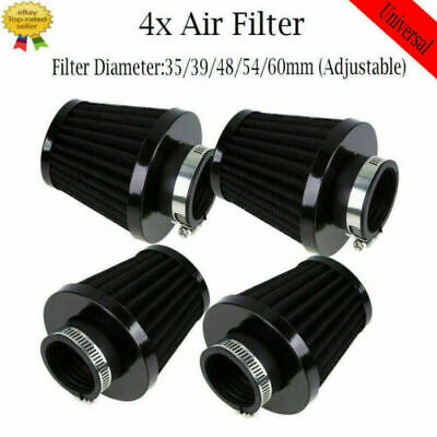 4pcs Motorcycle Black Iron 51/52/53mm Motorcycle Air Filter Engine Universal Fit • 22.99£