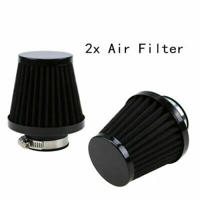 2PCS 47/48/49MM Black Cone Air Intake Filter Cleaner Universal Fit Motorcycle • 17.99£