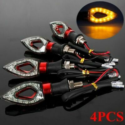 4x 12 LED MOTORCYCLE MOTORBIKE TURN SIGNAL INDICATORS LIGHT LAMP AMBER UNIVERSAL • 7.99£