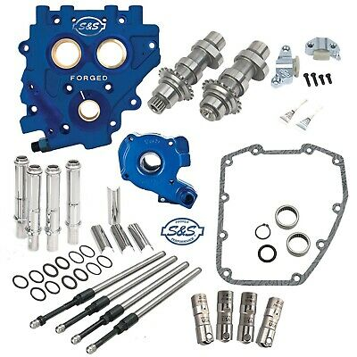 S&S 585C Chain Drive Cam Camchest Kit W/ Pushrods Oil Pump Plate Harley 07-17 • 1,159.31£