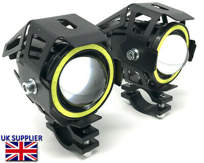 Projector 10W LED Spotlights + White Halo Rings For Yamaha Super Tenere 750 1200 • 43.11£