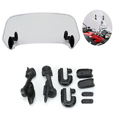 Motorcycle Universal Clip On Windshield Wind Screen Deflector Extension Spoiler • 15.59£