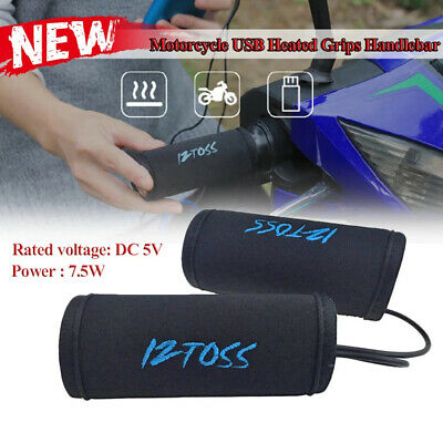 Pair 5V DC Motorcycle USB Electric Heated Grips Handlebar Winter Warm Hot Grip • 14.99£