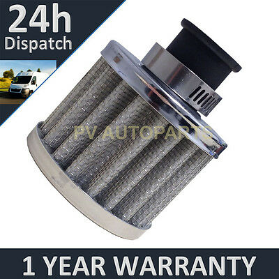 12mm AIR OIL CRANK CASE BREATHER FILTER MOTORCYCLE QUAD CAR SILVER ROUND • 4.99£