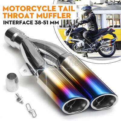 38-51mm Universal Motorcycle Muffler Exhaust Tail Pipe Twin Tip Stainless Steel • 35.99£