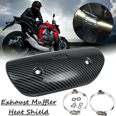 Carbon Motorcycle Exhaust Middle Pipe Heat Shield Muffler Protector Guard • 13.99£