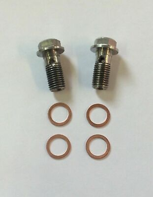 2 X Stainless Steel Brake Banjo Bolt M10 X 1.00mm Hex Head With Copper Washers  • 4.80£