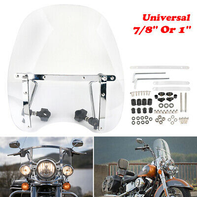 Universal Clear Motorcycle Windshield Windscreen 7/8'' Or 1'' For Harley Honda • 36.75£