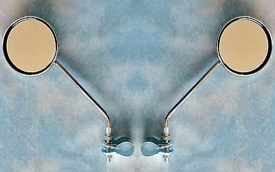Pair Chrome Classic Retro Mirrors For Bicycle Or Moped - Mobylette, Raleigh Etc • 15.98£