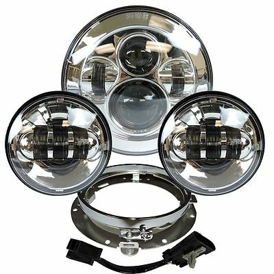 7  Chrome LED Projector Daymaker Headlight + Passing Lights For Harley Touring C • 65.79£