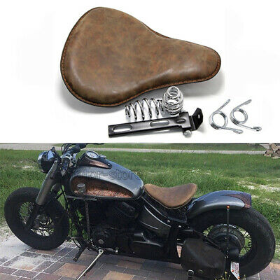 Retro Brown Motorcycle Solo Seat Soft Leather For Harley Honda Chopper Bobber • 59.75£