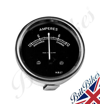 CLASSIC MOTORBIKE AMMETER 2  Diameter Black Dial With Chrome Bezel 12-0-12 12amp • 29.95£