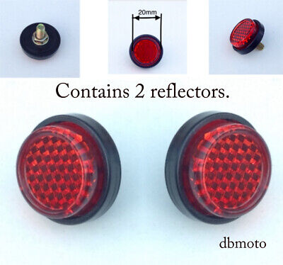 PAIR Of Motorbike Tail Tidy Round 20mm Bolt On Rear Red Reflector....for MOT. • 1.99£