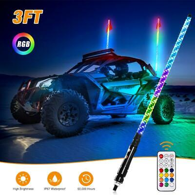 3ft 5050RGB Lighted LED Whip Light Flagpole Lamp W/Flag &Remote For Car • 35.89£