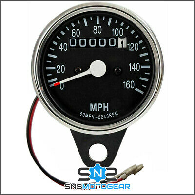 Universal Motorcycle Motorbike Classic Style Chrome/Black Cable Speedo MPH • 32.99£